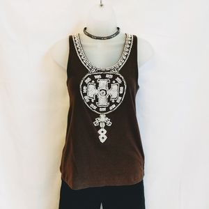 Tory Burch Beaded Knit Tank Top Size Med